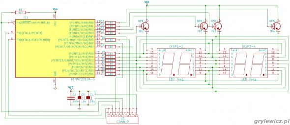 Schemat mini płytki testowej AVR v.2.0