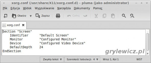 Plik xorg.conf w Linux Mint Mate