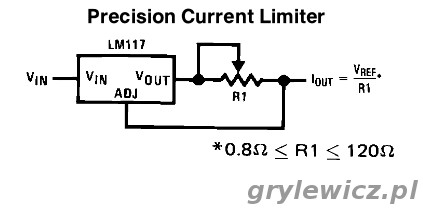 Ogranicznik prądu na LM317 - schemat z noty aplikacyjnej