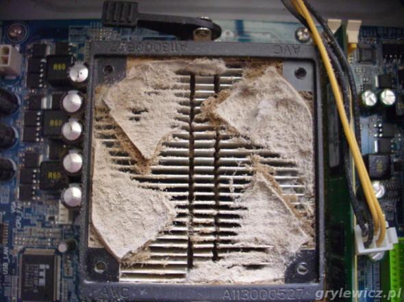 Radiator procesora zapchany kurzem