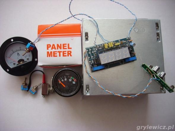 Części użyte do budowy - panel pomiarowy