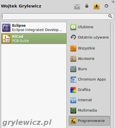 KiCAD w menu Programowanie