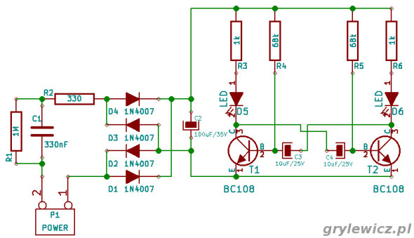 Multiwibrator astabilny z diodami LED