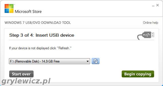 Nośnik USB na który zostanie zgrana instalka