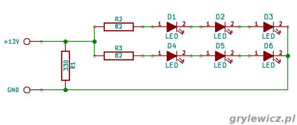Schemat modułu 6 LED 5050
