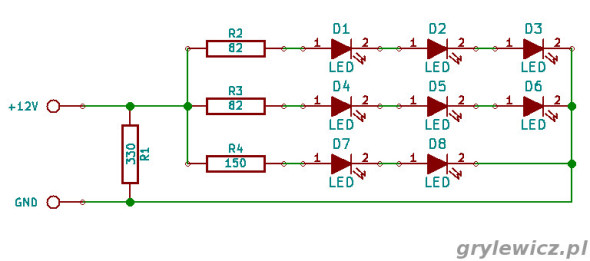 Schemat modułu 8 LED 5050