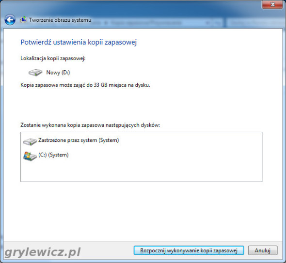 Windows 7 - ustawienia kopii zapasowej