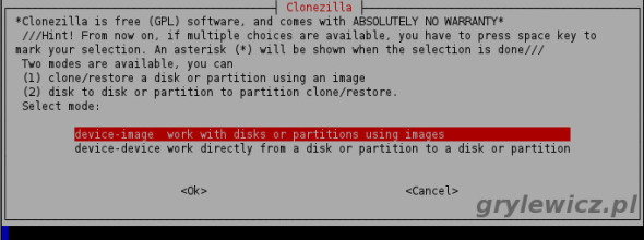 Tryb device-image w Clonzilla