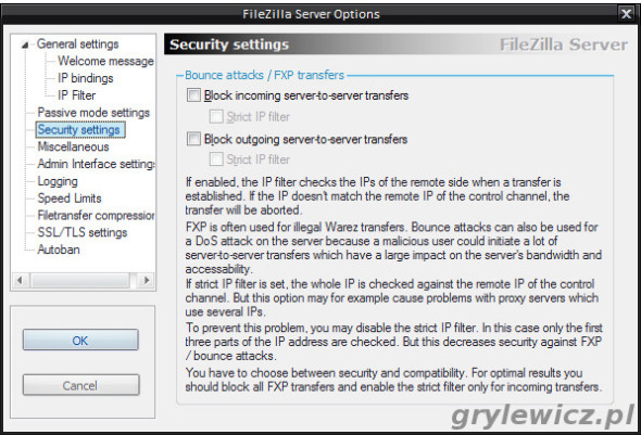 Security Setting w FileZilla