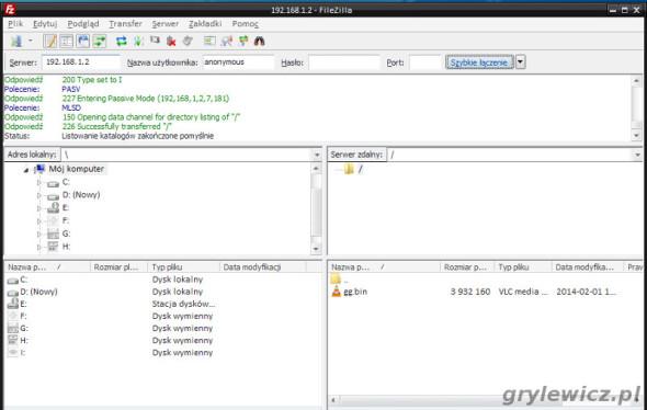 Serwer FTP - test połączenia
