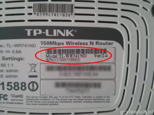Wersja sprzętowa tp-link
