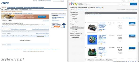 Konta w serwisach ebay i paypal