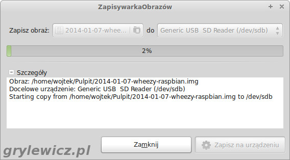 Zapisywanie Raspbiana na kartę SD
