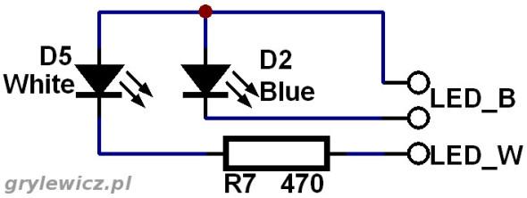 Schemat podłączenia diod LED