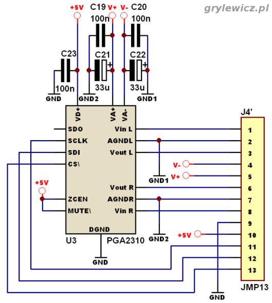 Potencjometr elektroniczny PGA2310 - schemat