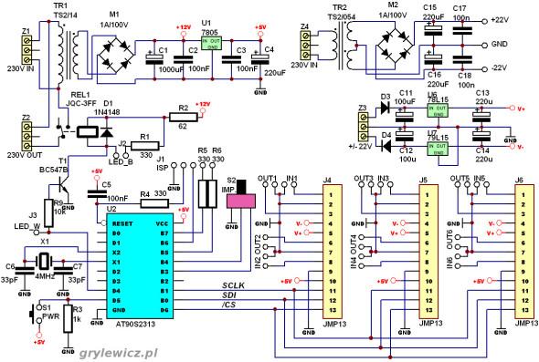 Sterownik mikroprocesorowy - schemat