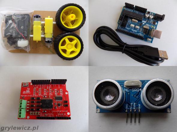 Arduino Uno, Motor Shield R3, HC-SR04, platforma 3-kołowa