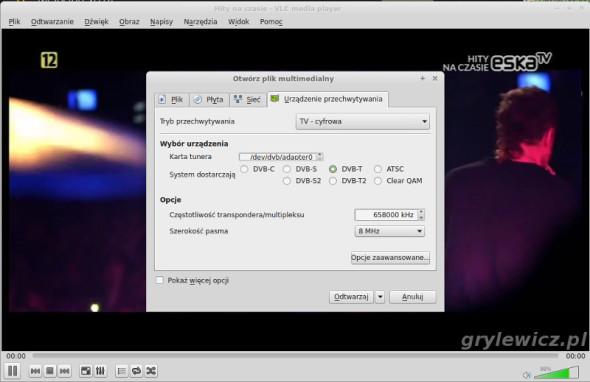 Odtwarzanie MUX DVB-T w VLC