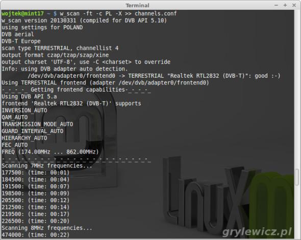 Skanowanie kanałów DVB-T Linux