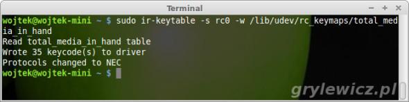 ir-keytable - załadowanie mapy klawiszy