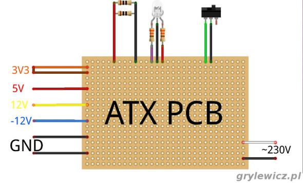 Przerobiony ATX - połączenia