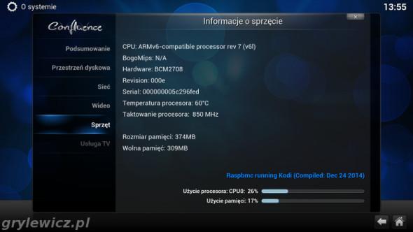 Informacje o sprzęcie - RaspBMC