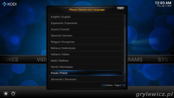 Raspbmc - wybór języka