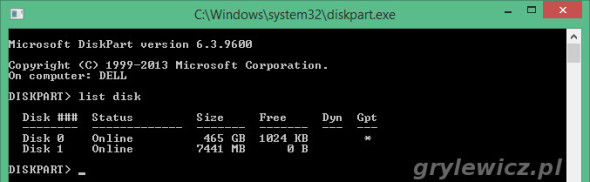 List disk w diskpart