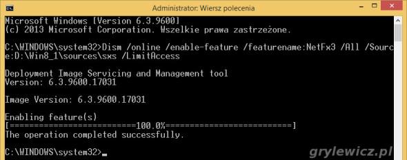 Windows 8.1 funkcja dotnet 3.5 włączona