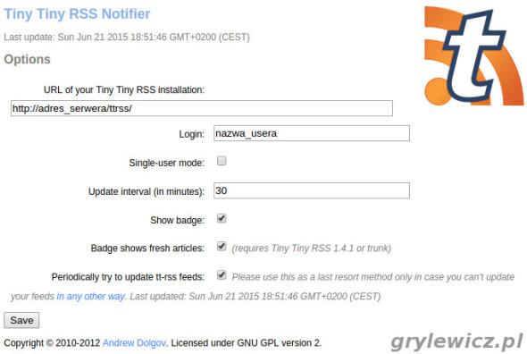 Tiny Tiny RSS Notifier konfiguracja