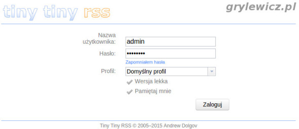 Logowanie do Tiny Tiny RSS