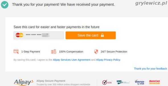 Aliexpress - potwierdzenie płatności