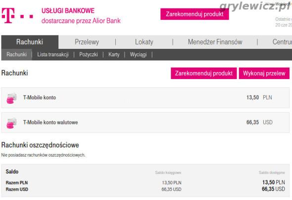 Panel t-mobile usługi bankowe