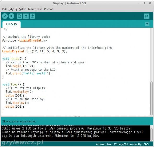 Arduino IDE i NANO