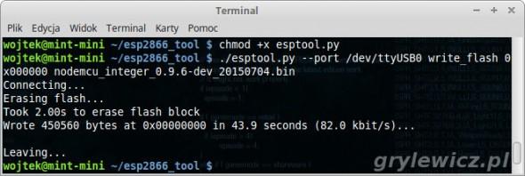 Wgrywanie firmware do esp8266 w linuksie