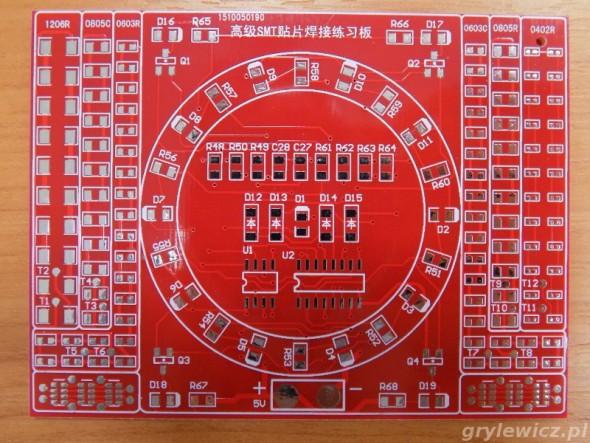 Czerwona PCB do nauki SMD
