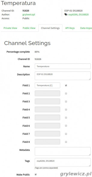 Kanał - ustawienia