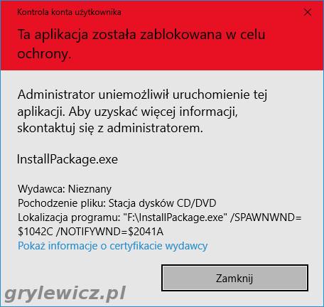 Windows 10 - zablokowana aplikacja