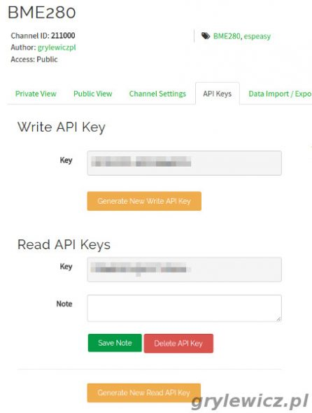 ThingSpeak API Key