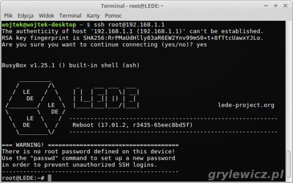 Logowanie do LEDE SSH