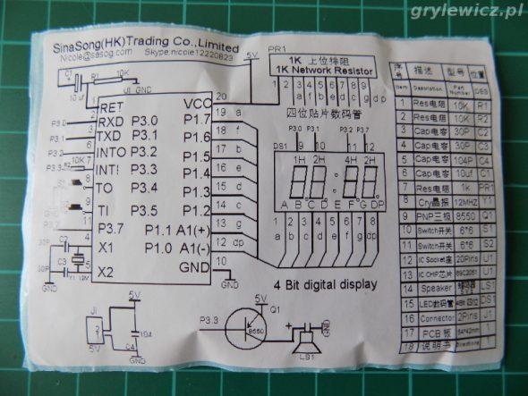 Etykieta - schemat zegarka 2051