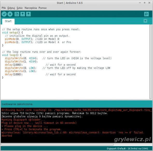 Digispark - błąd w Arduino