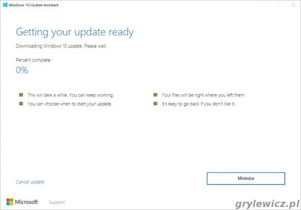Aktualizacja Windows 10 - pobieranie