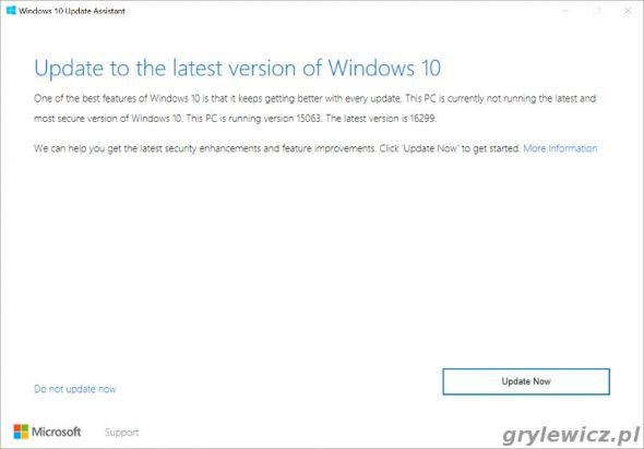 Ekran startowy asystenta aktualizacji Windows 10