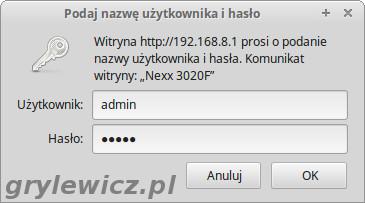 Nexx wt3020f logowanie