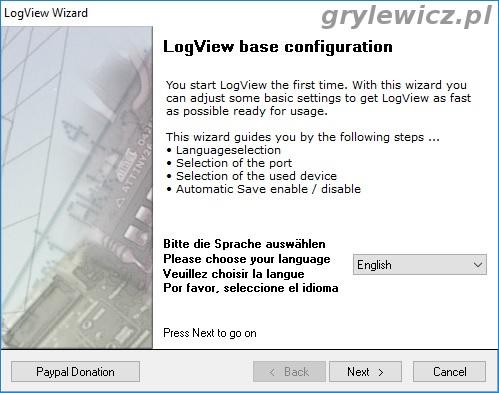 Wybór języka LogView