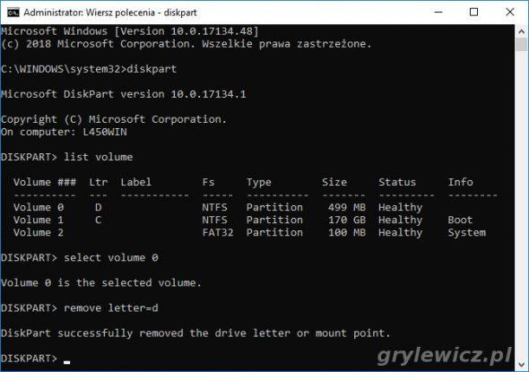 diskpart - usunięcie litery