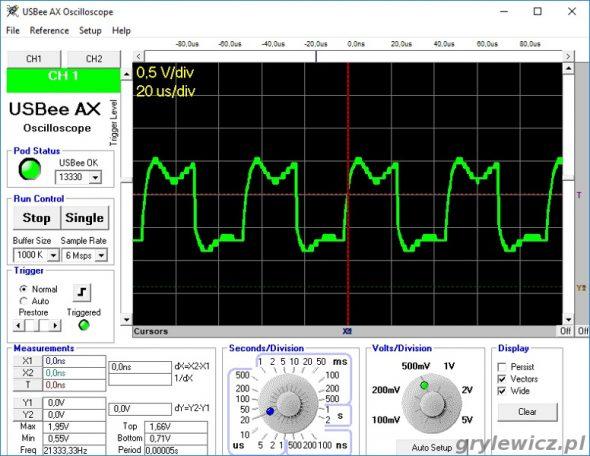 Przebieg na wyjściu tranzystora 50% mocy